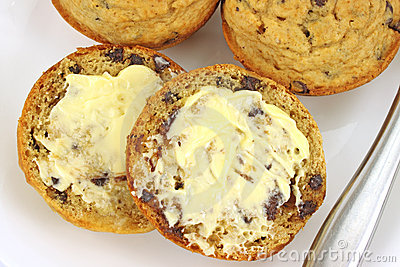 Buttered chocolate chip muffins