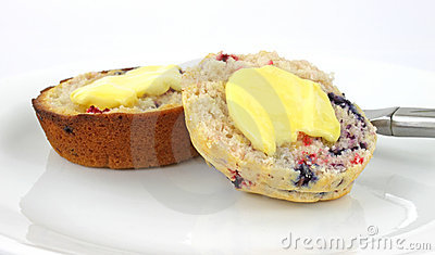 Buttered cranberry and blueberry muffin