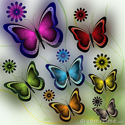 Free Butterflies And Flowers Royalty Free Stock Photos - 13516098