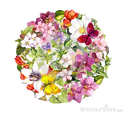 Free Butterflies And Flowers. Round Floral Pattern. Watercolour Royalty Free Stock Image - 79171026