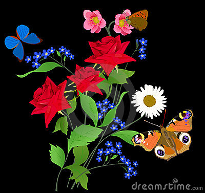 Free Butterflies And Three Red Bright Roses Royalty Free Stock Photography - 17168117
