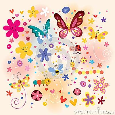 Free Butterflies Beetles Flowers Royalty Free Stock Image - 24114536