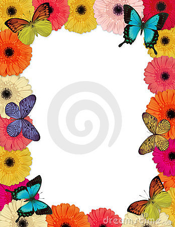 Free Butterflies & Daisies Frame Royalty Free Stock Photo - 4245045