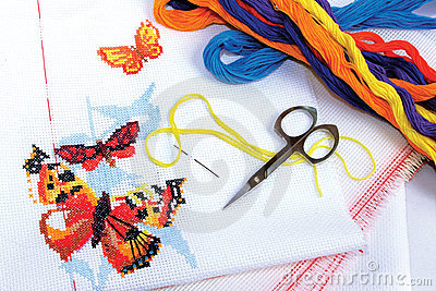 Butterflies embroidered cross-stitch