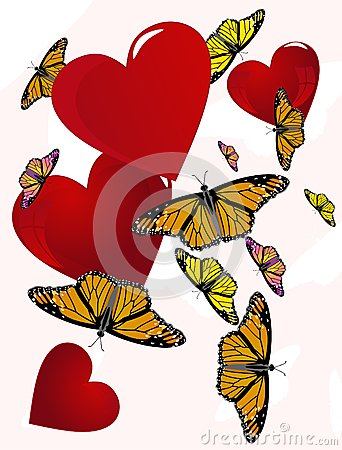 Butterflies floating around hearts