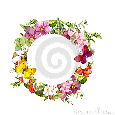 Free Butterflies, Flowers. Circle Floral Wreath. Watercolor Stock Photography - 76914082