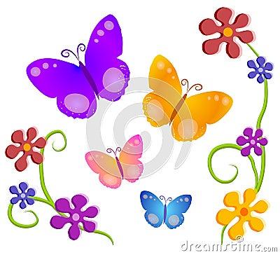 Free Butterflies Flowers Clip Art 1 Royalty Free Stock Photo - 2246885
