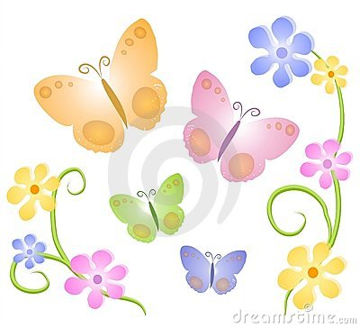 Free Butterflies Flowers Clip Art 2 Royalty Free Stock Photos - 2246888