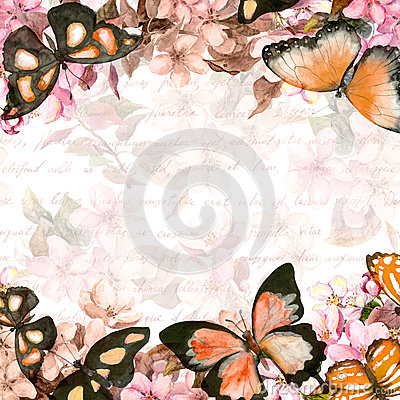 Free Butterflies, Flowers. Floral Card. Vintage Watercolor Royalty Free Stock Photo - 84666445