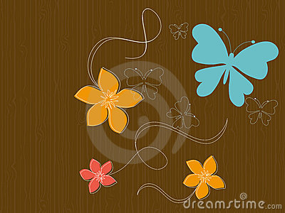 Butterflies and flowers on wood