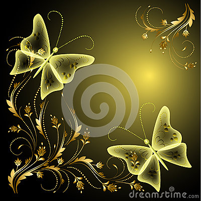 Butterflies and golden ornament