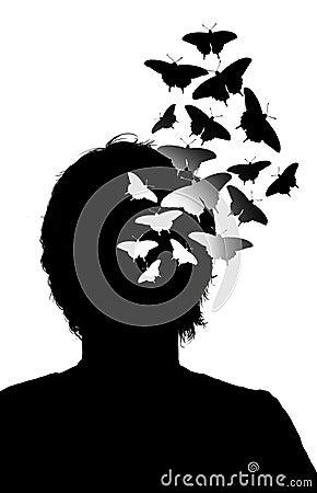 Butterflies height the head