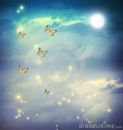 Free Butterflies In A Fantasy Moonligt Landscape Royalty Free Stock Photo - 31942925