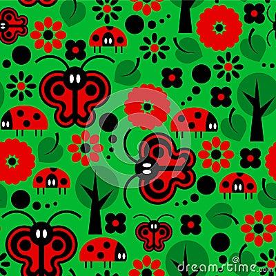 Butterflies and ladybirds pattern