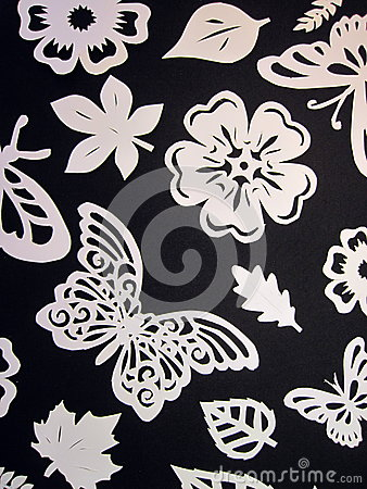 Free Butterflies, Leaves And Flowers Pattern. Paper Cutting. Royalty Free Stock Image - 36858926
