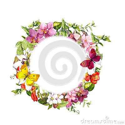 Free Butterflies On Meadow Flowers. Round Floral Wreath. Watercolor Royalty Free Stock Images - 77853469