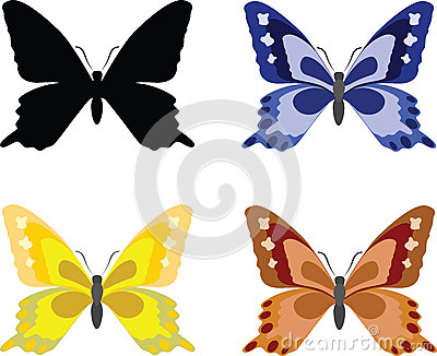 Butterflies with open wings