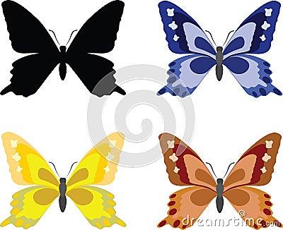 Butterflies with open wings