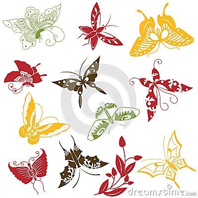 Butterflies ornaments set