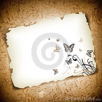 Butterflies at paper over grunge background