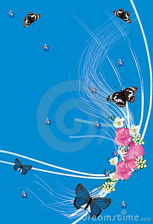 Butterflies and pink flowers on blue
