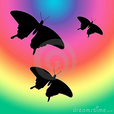 Butterflies into the rainbow