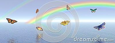 Butterflies and rainbow Stock Photo