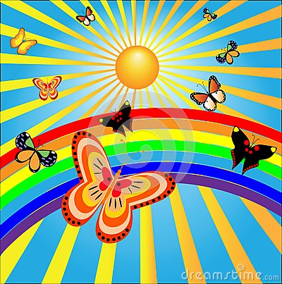 Butterflies rejoice to the sun and a rainbow