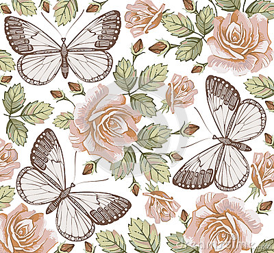 Free Butterflies. Roses. Flowers. Beautiful Background. Stock Photography - 37648952