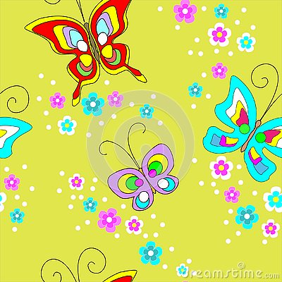 Butterflies seamless pattern. Cute design for textiles, children`s clothing, postcards. Vector illustration Cartoon Illustration