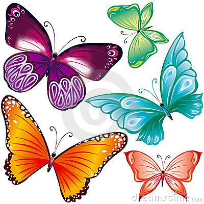 Free Butterflies Set Royalty Free Stock Photo - 19298395