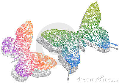Butterflies with shadow,