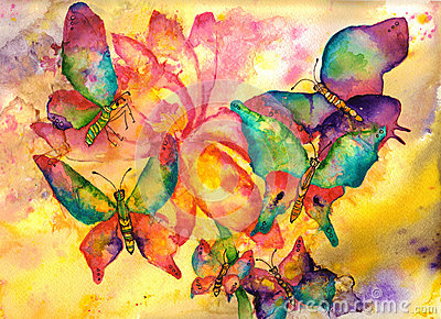 Butterflies Watercolor Painting Royalty Free Stock Image ...