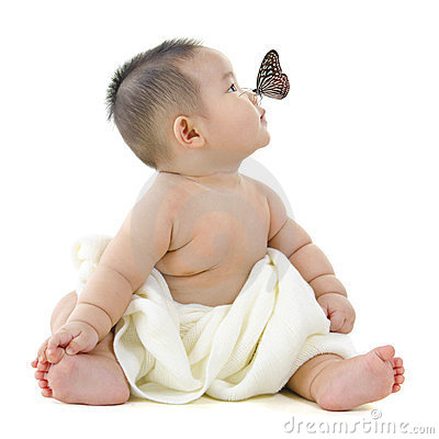 Free Butterfly And Baby Stock Photo - 24171090