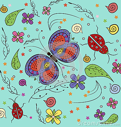 Free Butterfly And Lady Bug Pattern Stock Image - 68153261