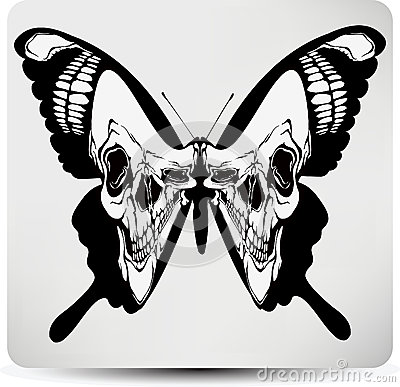 Butterfly black skull. Vector illustration