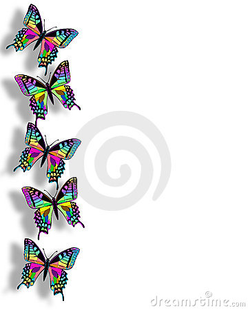 Butterfly Border 3D Rainbow Colors Stock Photography - Image: 4056882
