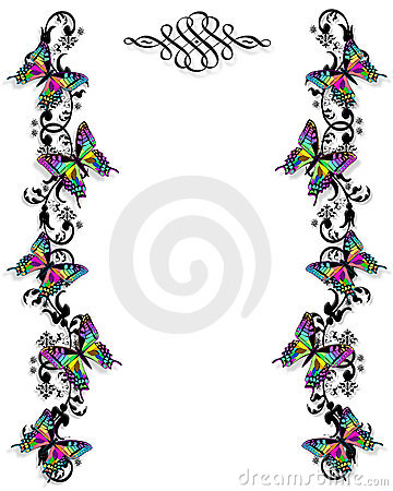 Butterfly Border invitation template