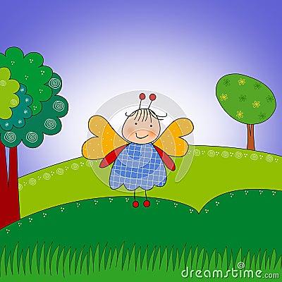 Butterfly. Cartoon character.