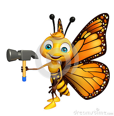 Free Butterfly Cartoon Character With Hammer Royalty Free Stock Images - 69240829