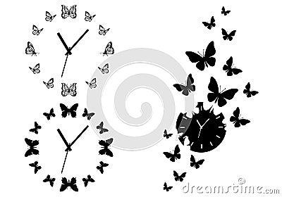 Butterfly Clocks Vector Set Royalty Free Stock Photo