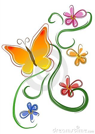 Free Butterfly Flowers Clip Art 01 Royalty Free Stock Image - 2158506