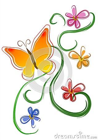 Butterfly Flowers Clip Art 01