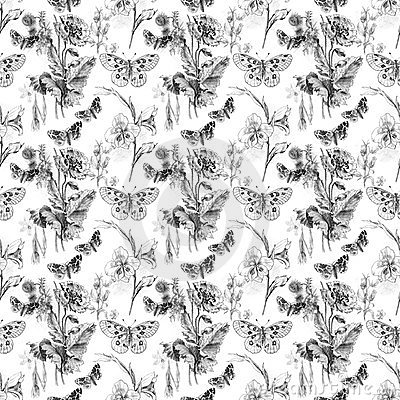Butterfly and Flowers Pattern