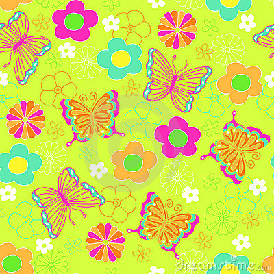 Butterfly and Flowers Seamless Repeat Pattern