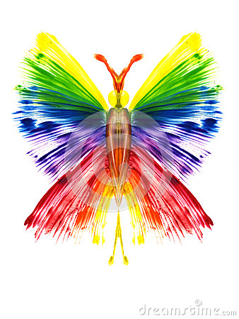 butterfly in the form of a rainbow