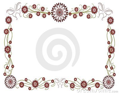 isolated Floral frame with stylized flowers and bu