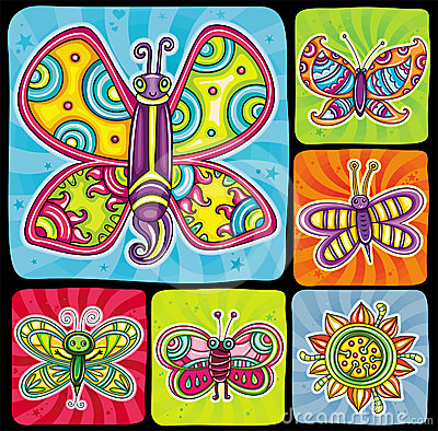 Butterfly icon set.