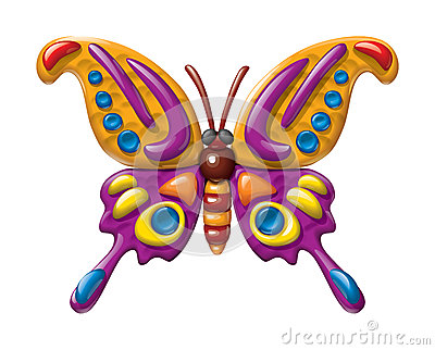 Butterfly illustration plasticine figurines