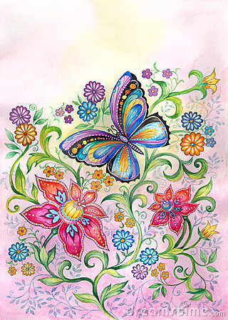 Free Butterfly In Flowers Royalty Free Stock Photos - 5987258